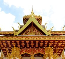 Shiny Wat II - Vientiane, Laos. by Tiffany Lenoir