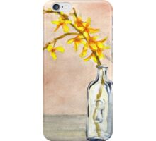 forsythia in antique jar with keyhole stamp, 2 of 2 iPhone Case/Skin