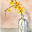 forsythia in antique jar with keyhole stamp, 2 of 2 by resonanteye