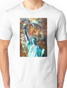 Statue Of Liberty - She Stands by Sharon Cummings Unisex T-Shirt
