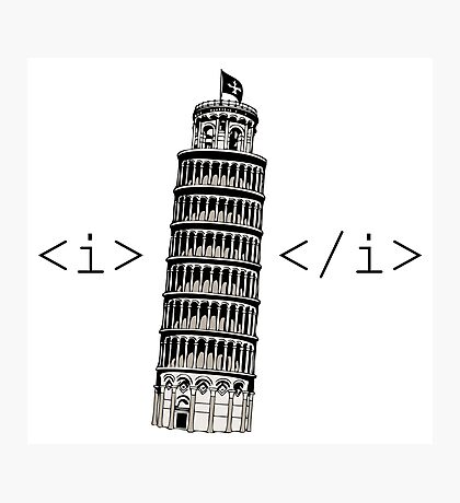 The Leaning Tower of Pisa Italic HTML Photographic Print
