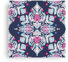 Pastel Folk Art Pattern in soft navy, pink, mauve & white Canvas Print