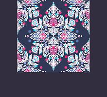 Pastel Folk Art Pattern in soft navy, pink, mauve & white Womens Fitted T-Shirt