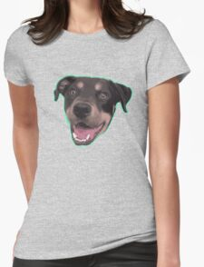 Happy dog head Womens Fitted T-Shirt