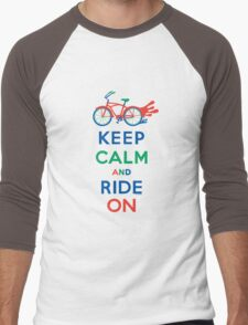 Keep Calm and Ride On - cruiser - primary colors Men's Baseball ¾ T-Shirt