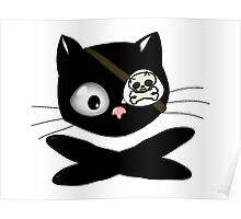 Pirate Kitty with Eye Patch Poster
