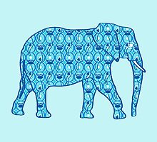 Lotus flower elephant - turquoise blue by Marymarice