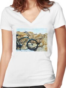 Beach Cruiser - Bicycle Art By Sharon Cummings Women's Fitted V-Neck T-Shirt