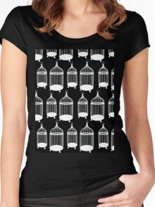 Black & White Bird Cage Pattern Women's Fitted Scoop T-Shirt