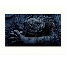 Statue of an Dark Angel Praying Close Up Art Print
