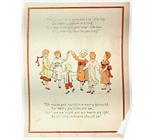 The Glad Year Round for Boys and Girls by Almira George Plympton and Kate Greenaway 1882 0024 Five Little Girls One Boy Poster