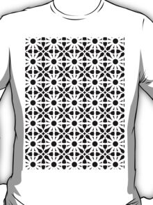 Black and White Flower Pattern T-Shirt