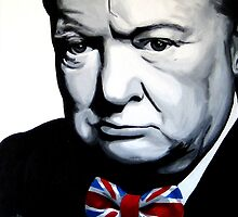 Sir Winston Churchill with Union Jack bow-tie by Patrick Hawkins