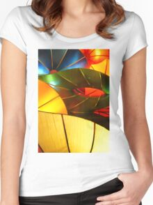 Colorful Vertical Abstract of Blue Green Yellow and Orange Women's Fitted Scoop T-Shirt