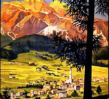 Cortina d Ampezzo Italy Vintage Poster Restored by Carsten Reisinger