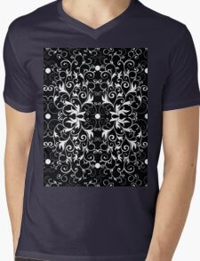 Black and White Abstract Pattern Mens V-Neck T-Shirt