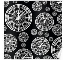 Black and White Vintage Clock Pattern Poster
