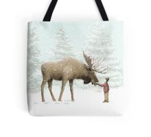 Boy and Moose Tote Bag