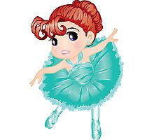 Cute Little Blue Vector Ballerina Photographic Print