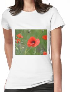 Red Poppy Close Womens Fitted T-Shirt