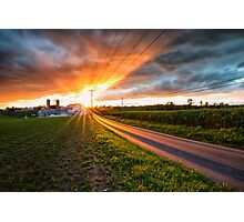 Farm and Road Sunset Photographic Print