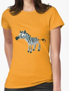 Cute goggle-eyed zebra Womens Fitted T-Shirt