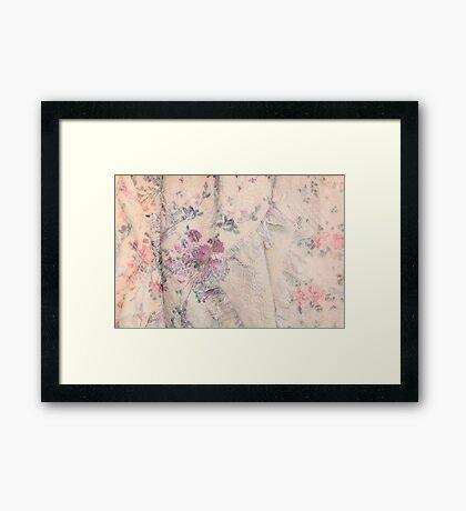 Pink Antique Blanket with Roses Framed Print