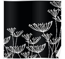 Black and White Dandelion Pattern Poster