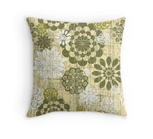 Abstract Floral Circles Yellow Throw Pillow