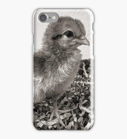 Black and White baby chick iPhone Case/Skin