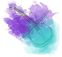 watercolor violin  Photographic Print