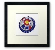 Colorado Blue Ribbon Bottle Cap Framed Print