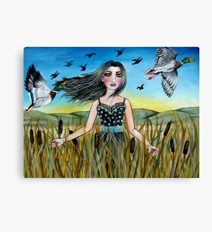 Among the Cattails Canvas Print