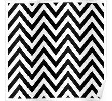Black and White Chevron Pattern Poster