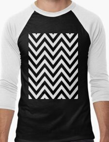Half Black and White Chevron Pattern with Green Turquoise Color Men's Baseball ¾ T-Shirt