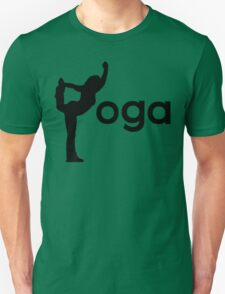 Yoga Silhouette Balancing Stretching Font Text T-Shirt