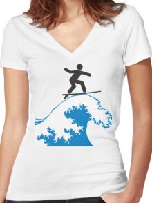 Artistic Surfing Women's Fitted V-Neck T-Shirt
