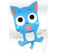 Blue Happy Anime Kitten Cat Poster