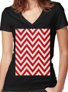 Red Chevron Pattern Women's Fitted V-Neck T-Shirt