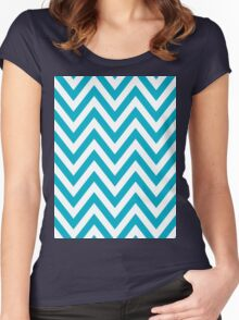 Half Blue and White Chevron Pattern with Yellow Color Women's Fitted Scoop T-Shirt
