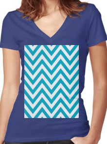 Half Blue and White Chevron Pattern with Yellow Color Women's Fitted V-Neck T-Shirt