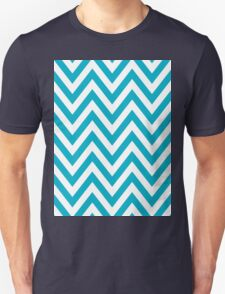 Half Blue and White Chevron Pattern with Yellow Color Unisex T-Shirt