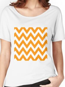 Half Orange and White Chevron Pattern with Blue Color Women's Relaxed Fit T-Shirt