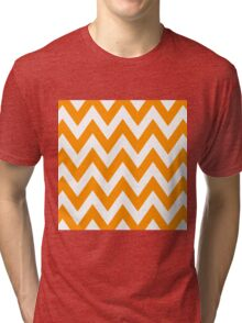 Half Orange and White Chevron Pattern with Blue Color Tri-blend T-Shirt
