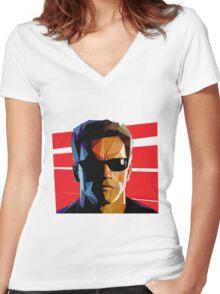 Terminator Triangulation Vector Women's Fitted V-Neck T-Shirt