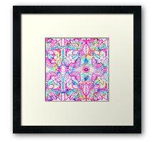 Bright psychedelic pink blue floral doodle pattern Framed Print