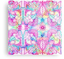 Bright psychedelic pink blue floral doodle pattern Metal Print