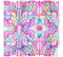 Bright psychedelic pink blue floral doodle pattern Poster