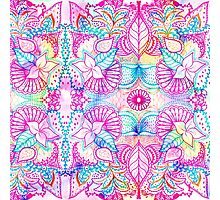 Bright psychedelic pink blue floral doodle pattern Photographic Print