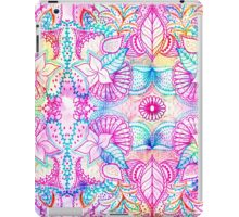 Bright psychedelic pink blue floral doodle pattern iPad Case/Skin